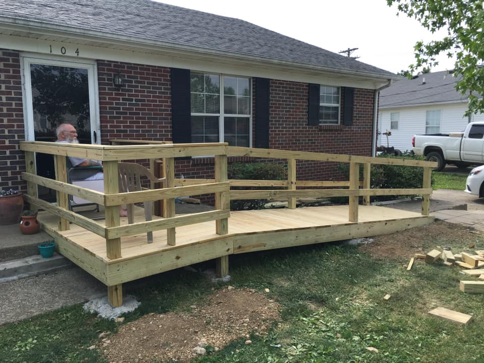 completed construction to assist a veteran in need of a new wheel chair ramp.
